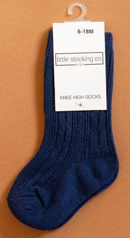 Little Stocking Co Navy Blue Knee High Socks Basically Bows & Bowties