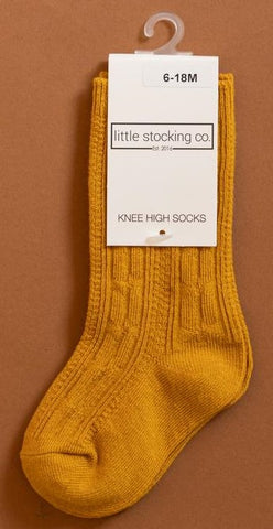 Little Stocking Co Golden Yellow Knee High Socks Basically Bows & Bowties