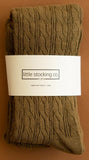 Little Stocking Co Olive Cable Knit Tights Basically Bows & Bowties