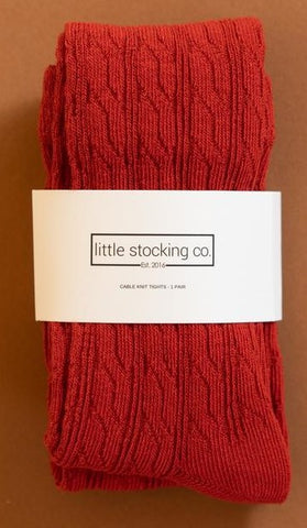 Little Stocking Co Spice Red Cable Knit Tights Basically Bows & Bowties