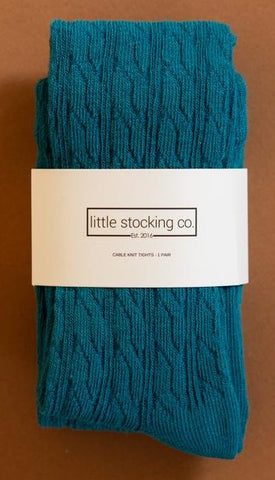Little Stocking Co Capri Cable Knit Tights Basically Bows & Bowties