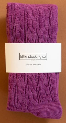 Little Stocking Co Willowherb Cable Knit Tights Basically Bows & Bowties