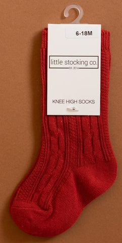 Little Stocking Co Spice Red Knee High Socks Basically Bows & Bowties