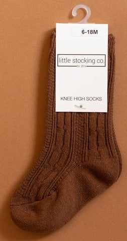 Little Stocking Co Chocolate Knee High Socks Basically Bows & Bowties