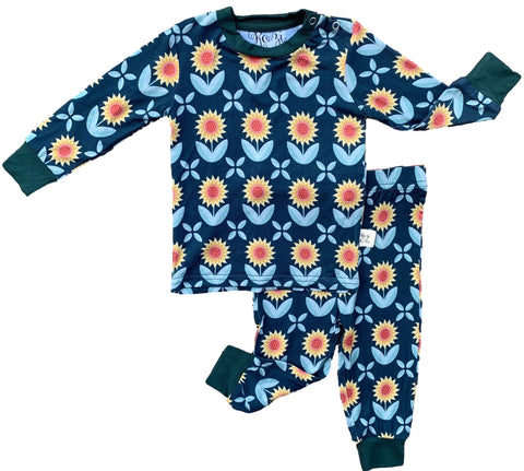 Kozi & Co Sunflowers Long Sleeve Pajama Set with Pants Basically Bows & Bowties