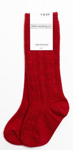 Little Stocking Co Knee High Sock - Cherry / True Red