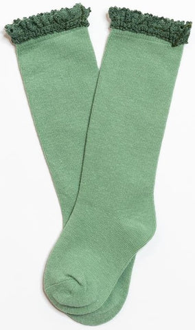 Little Stocking Co Lace Top Knee High Socks - Spearmint