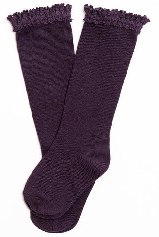Little Stocking Co Lace Top Knee High Socks - Eggplant