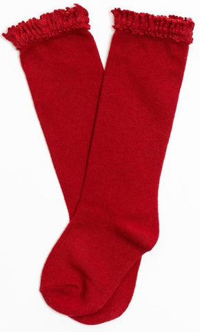 Little Stocking Co Lace Top Knee High Socks - Cherry / True Red