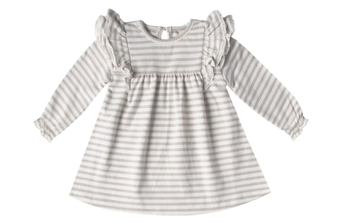 Quincy Mae Fog Stripe Longsleeve Flutter Dress