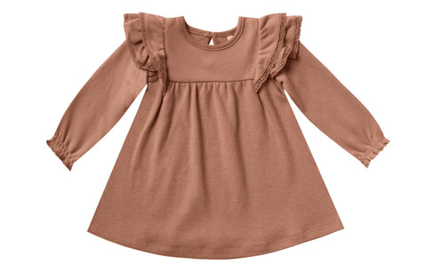 Quincy Mae Clay Longsleeve Flutter Dress