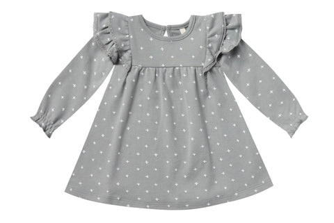 Quincy Mae Dusty Blue Long Sleeve Flutter Dress Basically Bows & Bowties