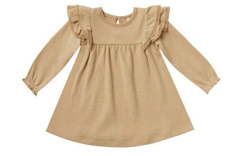 Quincy Mae Long Sleeve Flutter Dress-Honey
