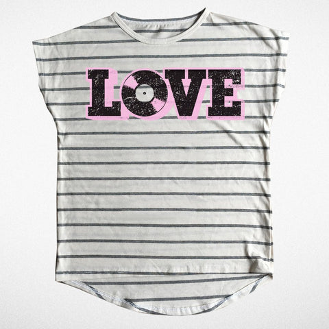 Tiny Whales Love Stripe Dolman Girl's Tee