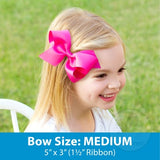 Medium Hot Pink w/White Initial Hair Bow on Clippie