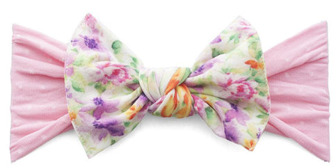 Baby Bling Pink Dot with Light Orchid Floral Printed Knot Headband - Basically Bows & Bowties