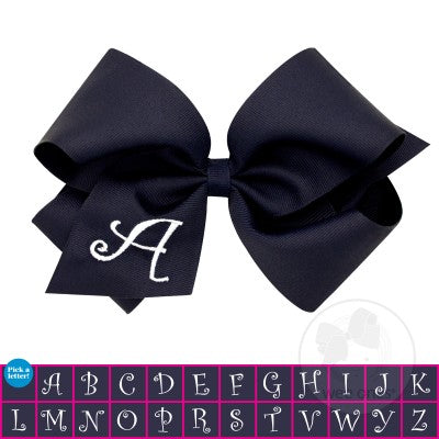 Wee Ones King Navy w/White Initial Hair Bow on Clippie