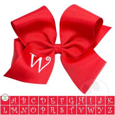 King Red w/White Initial Hair Bow on Clippie