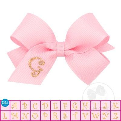Mini Light Pink w/Metallic Gold Initial Hair Bow on Clippie