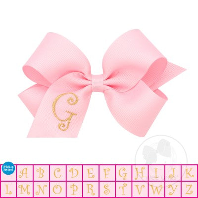 Wee Ones Medium Light Pink w/Metallic Gold Initial Hair Bow on Clippie