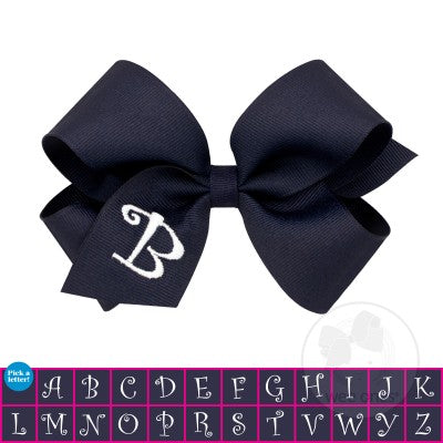 Wee Ones Medium Navy w/White Initial Hair Bow on Clippie