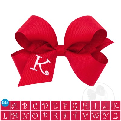 Medium Red w/White Initial Hair Bow on Clippie