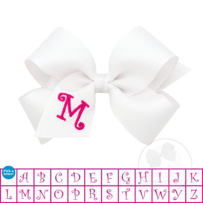 Wee Ones Medium White w/Shocking Pink Initial Hair Bow on Clippie