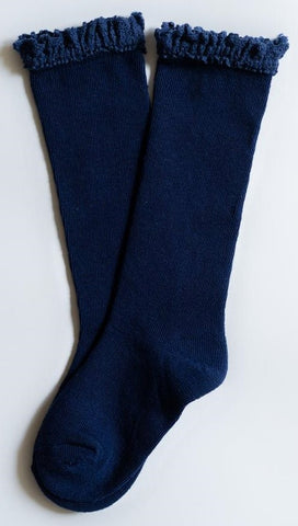 Little Stocking Co Navy Blue Lace Top Knee High Socks