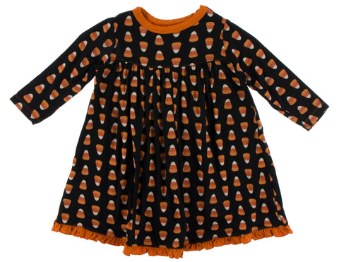 KicKee Pants Midnight Candy Corn Classic L/S Swing Dress