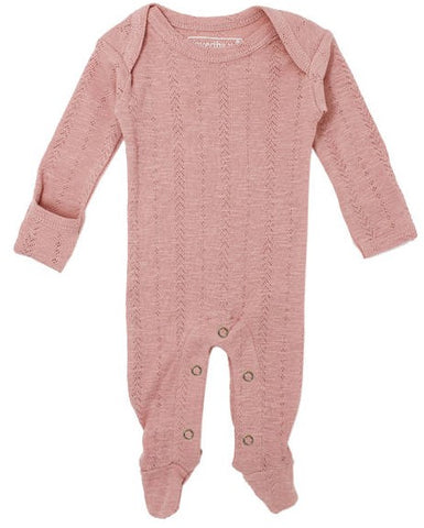 L'ovedbaby Mauve Pointelle Lap Shoulder Footie
