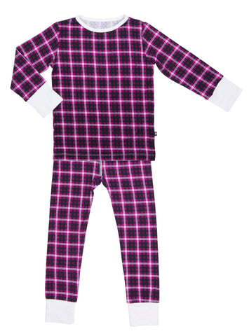 Sweet Bamboo Cranberry Plaid 2pc Pajama Set