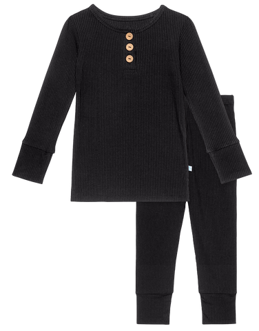 Posh Peanut Solid Ribbed Black L/S Henley Loungewear