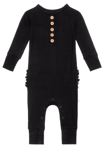 Posh Peanut Solid Ribbed Black L/S Ruffled Henley Romper