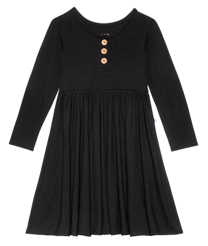 Posh Peanut Solid Ribbed Black L/S Twirl Dress