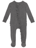 Posh Peanut Charcoal Heather Ruffled Zippered Footie