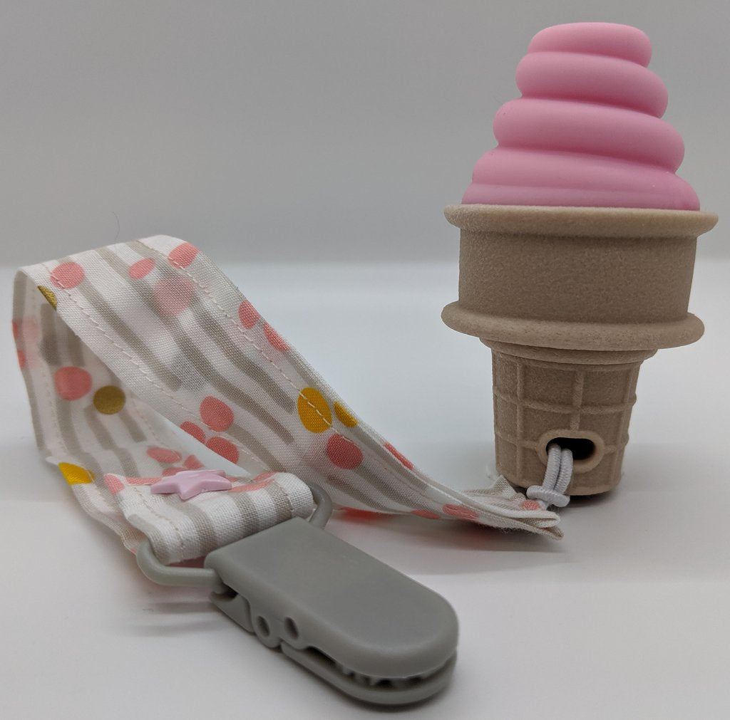 Sweetooth Pretty Pink Ice Cream Cone Teether 2 0