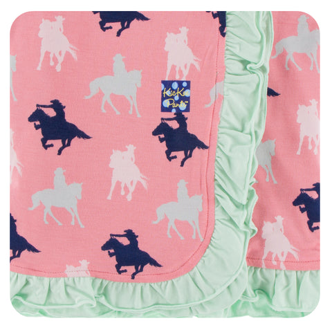 KicKee Pants Strawberry Cowgirl Ruffle Stroller Blanket