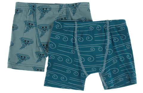 KicKee Pants Dusty Sky Happy Tornado and Heritage Blue Wind Boxer Briefs Set Basically Bows & Bowties