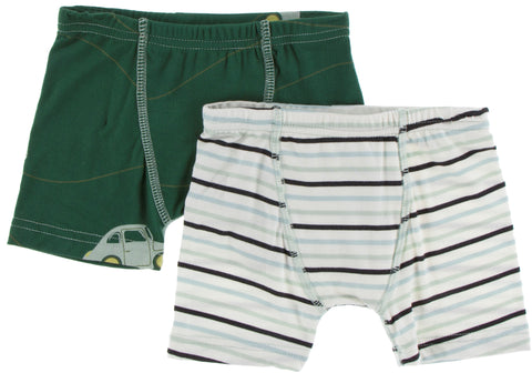 KicKee Pants Topiary Italian Car & Tuscan Afternoon Stripe Boxer Briefs Set