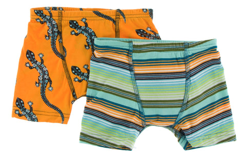 KicKee Pants Apricot Bead Lizard & Cancun Glass Stripe Boy's Boxer Brief Set