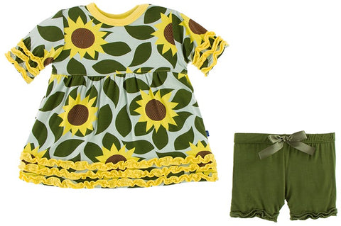 KicKee Pants Aloe Sunflower S/S Babydoll Outfit Set
