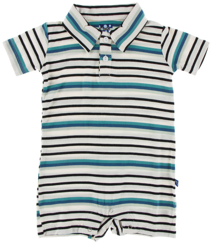 KicKee Pants Neptune Stripe Short Sleeve Polo Romper