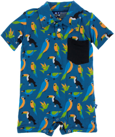 KicKee Pants Tropical Birds Polo Romper with Pocket
