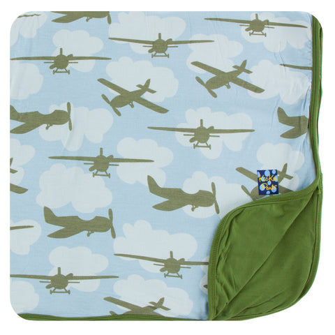 KicKee Pants Pond Airplanes Toddler Blanket - Basically Bows & Bowties