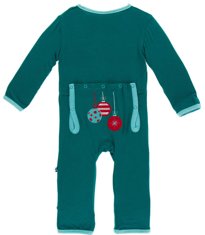 KicKee Pants Cedar Ornaments Applique Coverall with Snaps Basically Bows & Bowties