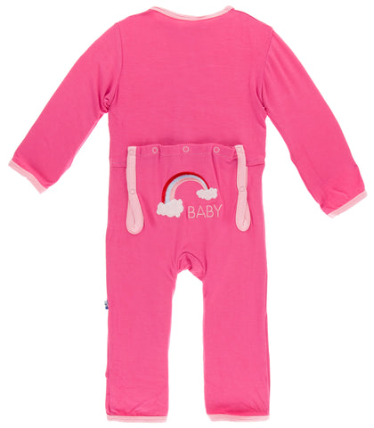 KicKee Pants Flamingo Rainbow Baby Applique Coverall with Snaps Basically Bows & Bowties