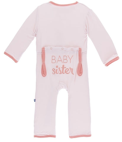 KicKee Pants Macaroon Baby Sister Applique Coverall with Snaps Basically Bows & Bowties