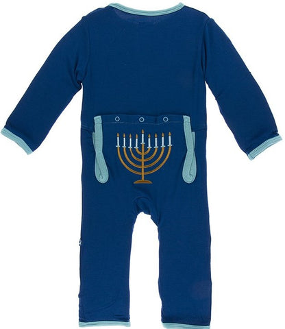 KicKee Pants Menorah Coverall with Snaps Basically Bows & Bowties