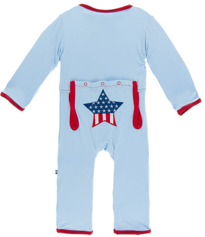 KicKee Pants Pond Stars & Stripes Applique Coverall
