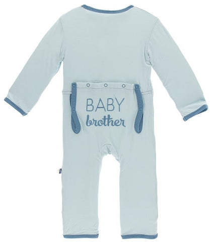 KicKee Pants Spring Sky Baby Brother Applique Coverall with Snaps Basically Bows & Bowties